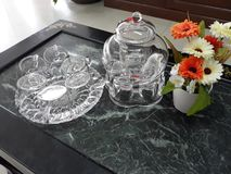 Kettle set with glass. stock photo