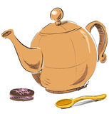 Kettle, spoon and biscuit Stock Image