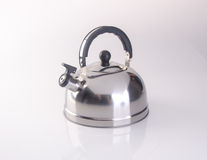 kettle or stainless steel kettle on background. Royalty Free Stock Images