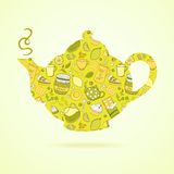 Kettle with tea pattern isolated  background Royalty Free Stock Images