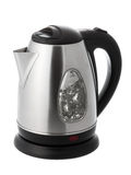 Kettle with water. Stainless steel electric kettle with boiling water Isolated on white background Stock Photography