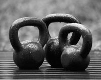 Kettle Weights in the Rain Royalty Free Stock Photo
