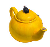 Kettle yellow ceramic teapot tea isolated Royalty Free Stock Photo