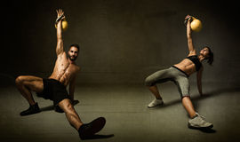 Kettleball excercise for two persons Stock Image
