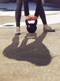 Kettlebell Being Lifted by Fitness Woman Royalty Free Stock Photo