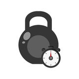 Kettlebell and chronometer icon Stock Image