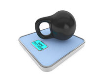 Kettlebell on Digital Bathroom Weight Scale Stock Images