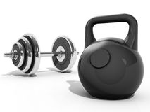 Kettlebell and dumbbell Stock Photography