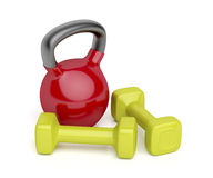 Kettlebell and dumbbells Royalty Free Stock Photo