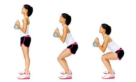 Kettlebell dumbell exercise. Series of kettlebell weight exercise sequence to promote strength and muscle tone, please see portfolio for more in this series Royalty Free Stock Photos