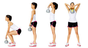 Kettlebell dumbell exercise. Series of kettlebell weight exercise sequence to promote strength and muscle tone, please see portfolio for more in this series Royalty Free Stock Images
