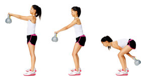 Kettlebell dumbell exercise. Series of kettlebell weight exercise sequence to promote strength and muscle tone, please see portfolio for more in this series Stock Image