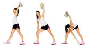 Kettlebell dumbell exercise. Series of kettlebell weight exercise sequence to promote strength and muscle tone, please see portfolio for more in this series Stock Photography