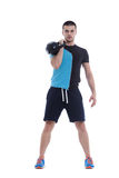 Kettlebell exercise. Demonstration of a kettlebell handling and execution Royalty Free Stock Image