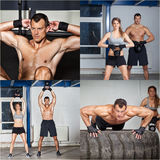 Kettlebell and fitness training man and woman Royalty Free Stock Photos