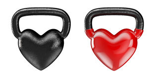 Kettlebell hearts. 3D render of heavy heart shaped kettlebell Royalty Free Stock Photos