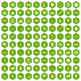 100 kettlebell icons hexagon green. 100 kettlebell icons set in green hexagon isolated vector illustration Royalty Free Stock Photography