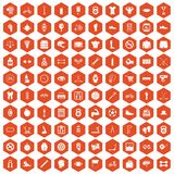 100 kettlebell icons hexagon orange. 100 kettlebell icons set in orange hexagon isolated vector illustration Royalty Free Stock Photos