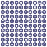 100 kettlebell icons hexagon purple. 100 kettlebell icons set in purple hexagon isolated vector illustration Royalty Free Stock Photos