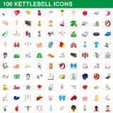 100 kettlebell icons set, cartoon style. 100 kettlebell icons set in cartoon style for any design vector illustration Stock Photo