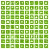 100 kettlebell icons set grunge green. 100 kettlebell icons set in grunge style green color isolated on white background vector illustration Royalty Free Stock Image
