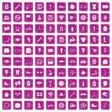 100 kettlebell icons set grunge pink. 100 kettlebell icons set in grunge style pink color isolated on white background vector illustration Stock Photo