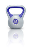 Kettlebell 10 kg. Kettlebell with reflection, white background Stock Photos