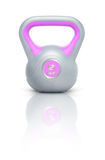 Kettlebell 2 kg. Kettlebell with reflection, white background Royalty Free Stock Photography