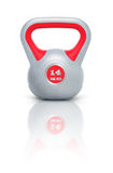 Kettlebell 14 kg. Kettlebell with reflection, white background Royalty Free Stock Photo