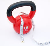Kettlebell and measuring tape Stock Photo