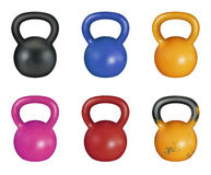 Kettlebell set. Illustration of a kettlebell training instrument in various colors Royalty Free Stock Photography