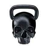 Kettlebell skull metal. 3D render of heavy skull shaped kettlebell Stock Photos