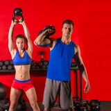 Kettlebell swing workout training group at gym Royalty Free Stock Image