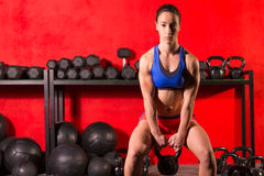 Kettlebell swing workout training woman at gym Royalty Free Stock Photo