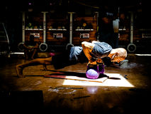 Kettlebell Trainer Performing Kettlebell Renegade Rows. Taco Fleur from Cavemantraining demonstrating the kettlebell renegade rows exercise. For kettelbell Stock Photography