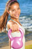 Kettlebell training woman Royalty Free Stock Photos
