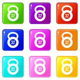 Kettlebell 32 uppsättning för kg-symboler 9 Arkivfoto