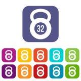 Kettlebell uppsättning för 32 kg-symboler Fotografering för Bildbyråer