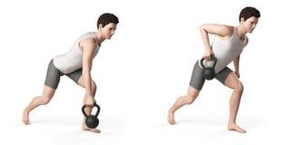 Kettlebelloefening Stock Afbeeldingen