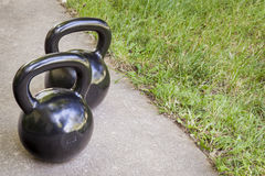 Kettlebells - backyard fitness Royalty Free Stock Image