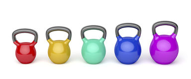 Kettlebells with different sizes Stock Images
