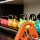 Kettlebells på kuggen i idrottshall Royaltyfri Bild