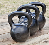 Kettlebells pretos do ferro Foto de Stock Royalty Free
