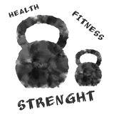 Kettlebells with some labels, watercolor effect Stock Photo