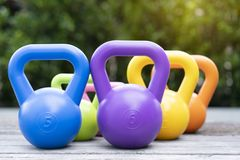 Kettlebells on the table Royalty Free Stock Image