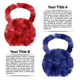 Kettlebells with user infotext, watercolor effect Royalty Free Stock Photos