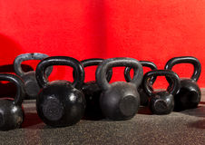 Kettlebells weights in a workout gym Stock Images