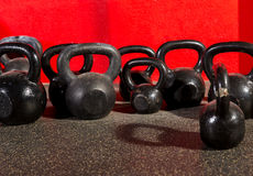 Kettlebells weights in a workout gym Stock Image