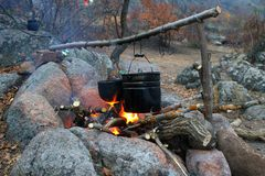 Kettles over the campfire Royalty Free Stock Photography