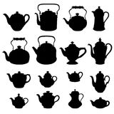 Kettles set. Teapots silhouette collection. Coffee pot isolated. Royalty Free Stock Images